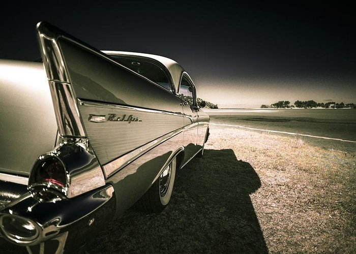 Chevrolet Bel Air Greeting Card featuring the photograph 57 Chevrolet Bel Air by motography aka Phil Clark