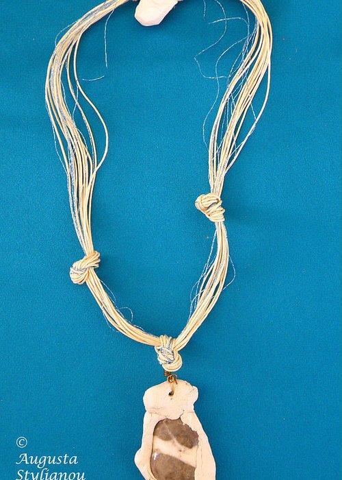 Jewelry Greeting Card featuring the jewelry Aphrodite Anadyomene Necklace by Augusta Stylianou