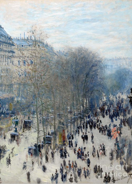 Claude Greeting Card featuring the painting Boulevard Des Capucines by Claude Monet