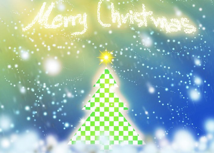Backdrop Greeting Card featuring the digital art Chess Style Christmas Tree by Atiketta Sangasaeng