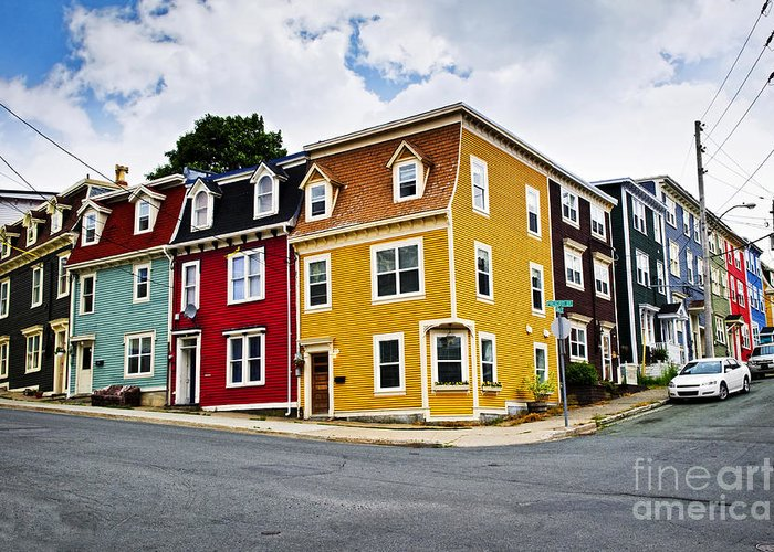 Houses Greeting Card featuring the photograph Colorful Houses In St. John's Newfoundland by Elena Elisseeva