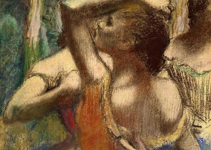 Degas Greeting Card featuring the pastel Dancers by Edgar Degas