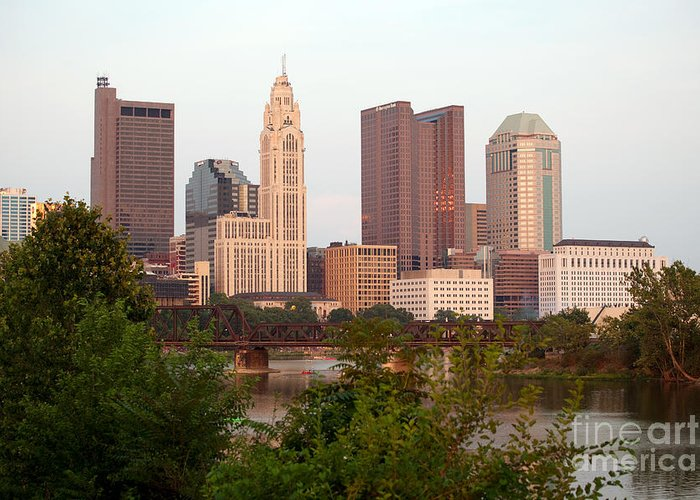 Columbus Greeting Card featuring the photograph Downtown Skyline Of Columbus by Bill Cobb