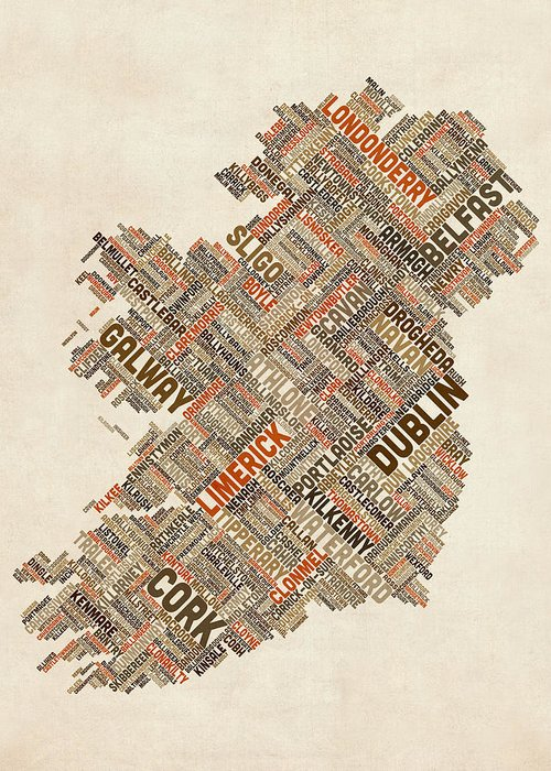Ireland Map Greeting Card featuring the digital art Ireland Eire City Text Map by Michael Tompsett