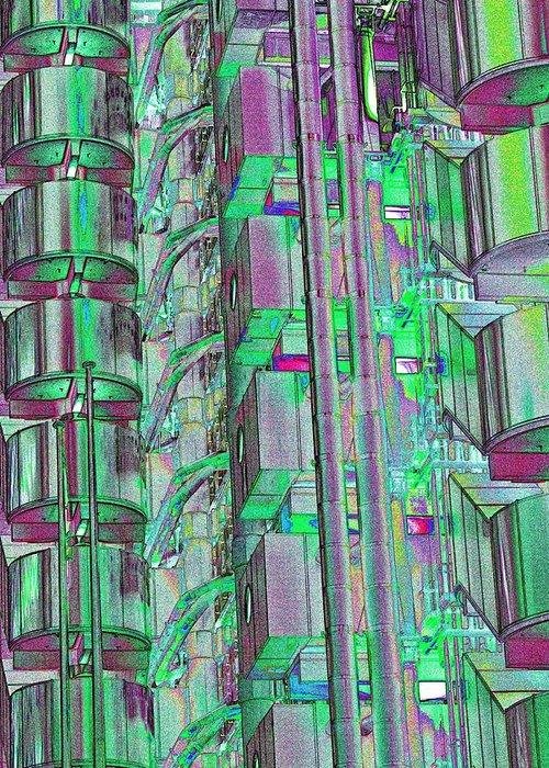 Abstract Greeting Card featuring the digital art Lloyd's Building London Art by David Pyatt