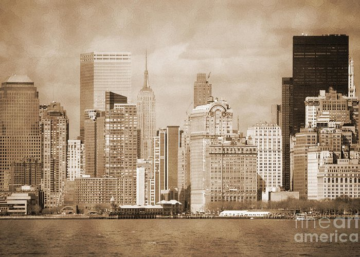 Bw Greeting Card featuring the photograph Manhattan Buildings Vintage by RicardMN Photography