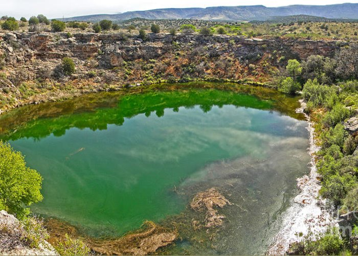 Montezuma's Well Greeting Card featuring the painting Montezumas Well by Gregory Dyer