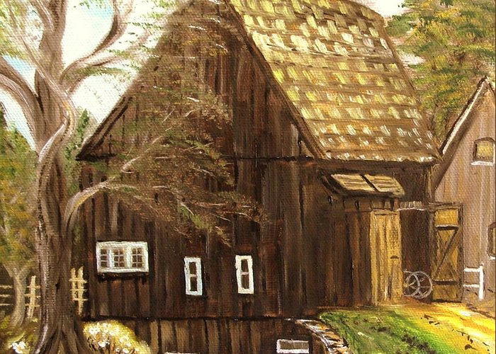 Mill Greeting Card featuring the painting Old mill by Kenneth LePoidevin