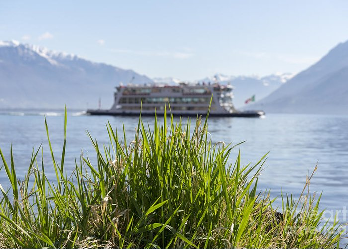 Passenger Ship Greeting Card featuring the photograph Passenger Ship On An Alpine Lake by Mats Silvan