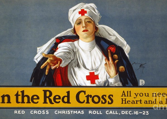 1917 Greeting Card featuring the photograph Red Cross Poster, 1917 by Granger