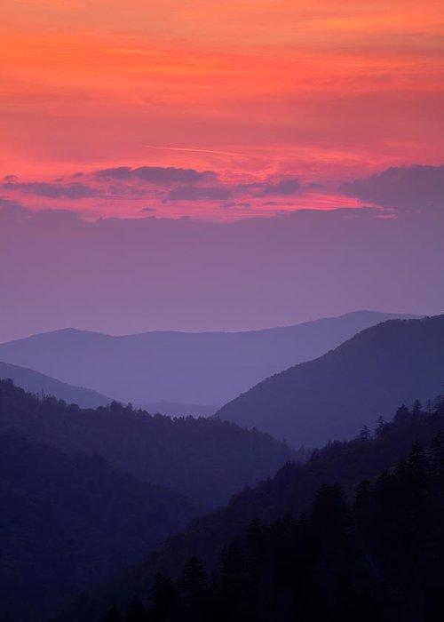 Smokies Greeting Card featuring the photograph Smoky Mountain Sunset by Andrew Soundarajan
