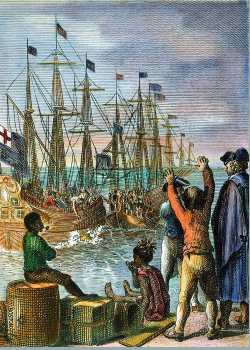 1773 Greeting Card featuring the photograph The Boston Tea Party, 1773 by Granger