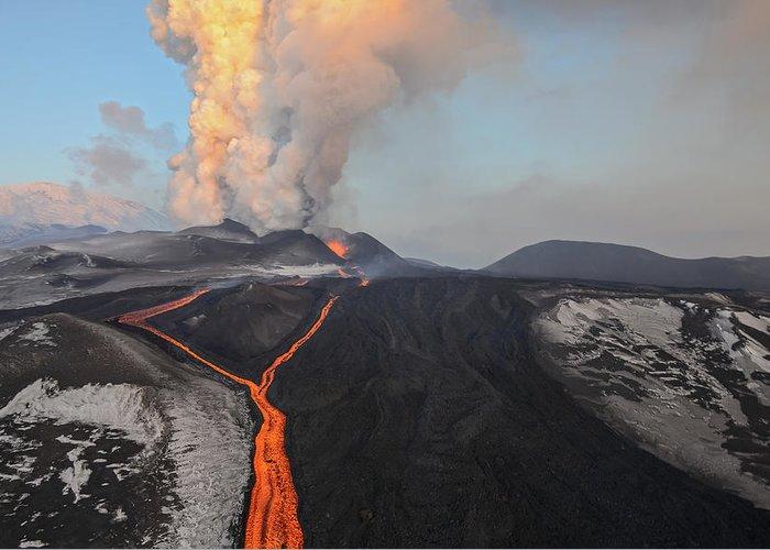 Feb0514 Greeting Card featuring the photograph Tolbachik Volcano Erupting Kamchatka by Sergey Gorshkov