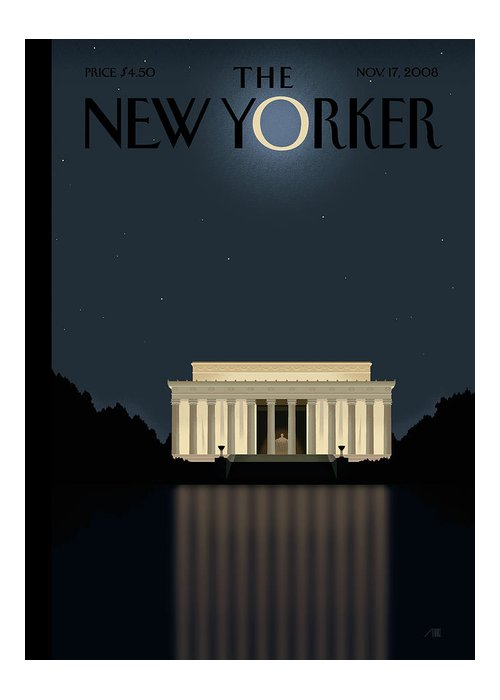 Lincoln Greeting Card featuring the painting New Yorker November 17th, 2008 by Bob Staake
