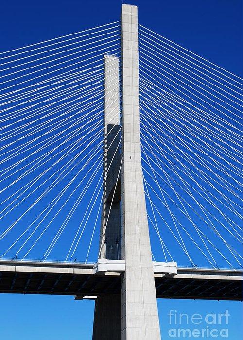 Bridge Greeting Card featuring the photograph Vasco Da Gama Bridge In Lisbon by Luis Alvarenga