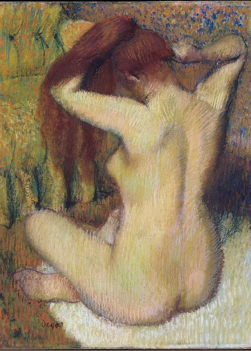 Edgar Degas Greeting Card featuring the painting Woman Combing Her Hair by Edgar Degas
