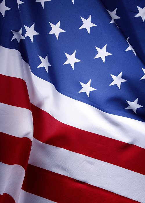 American Flag Greeting Card featuring the photograph American Flag by Les Cunliffe