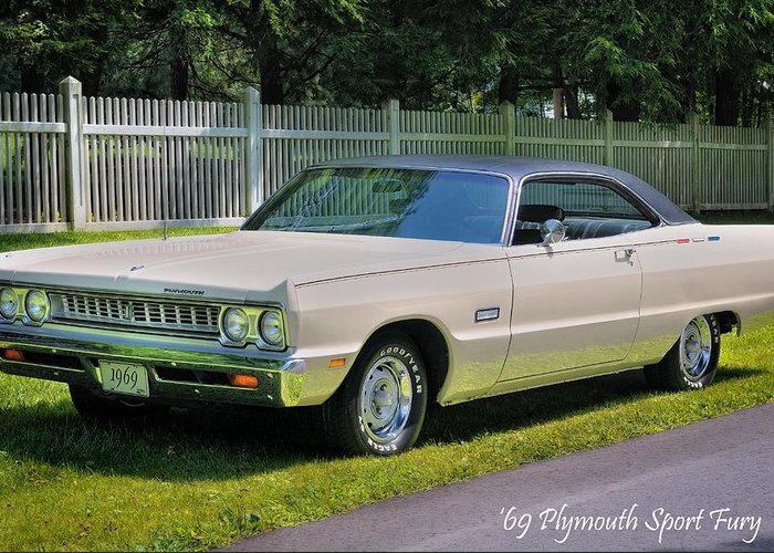 Plymouth Greeting Card featuring the photograph '69 Plymouth Sport Fury by Thomas Schoeller