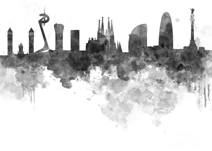 Barcelona Greeting Card featuring the painting Barcelona Skyline In Watercolour On White Background by Pablo Romero