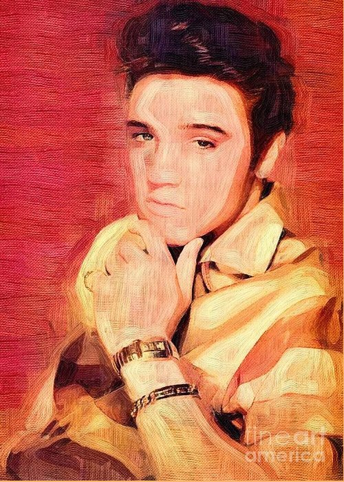 Elvis Presley Greeting Card featuring the mixed media Elvis Presley by Tim Knowles