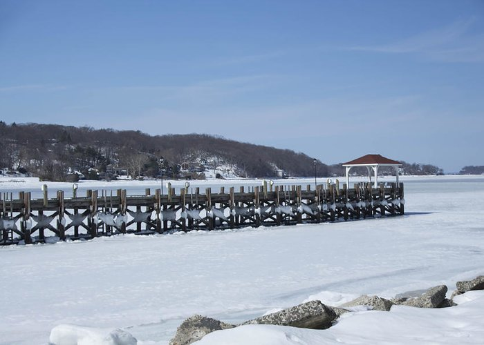Huntington Greeting Card featuring the photograph Frozen Northport Dock by Susan Jensen