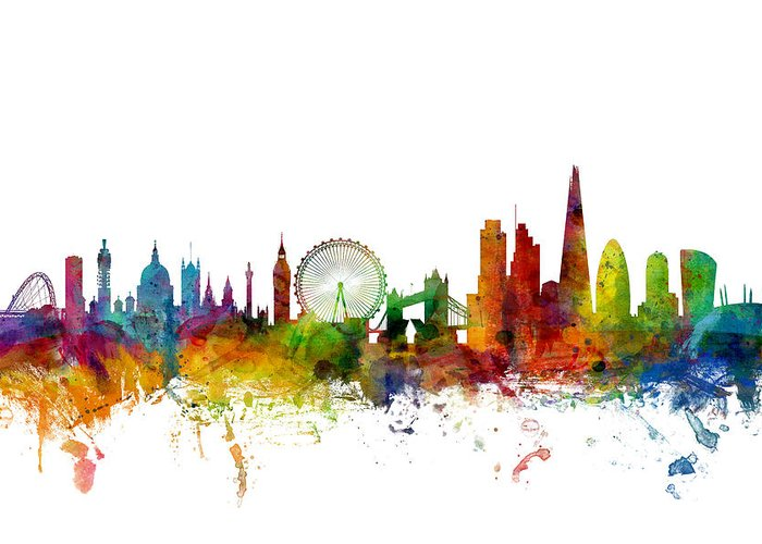 London Greeting Card featuring the digital art London England Skyline by Michael Tompsett