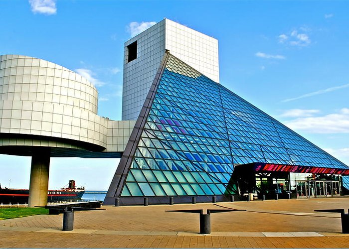 Rock Greeting Card featuring the photograph Rock and Roll Hall of Fame by Frozen in Time Fine Art Photography