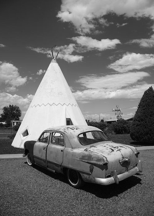 66 Greeting Card featuring the photograph Route 66 Wigwam Motel And Classic Car by Frank Romeo