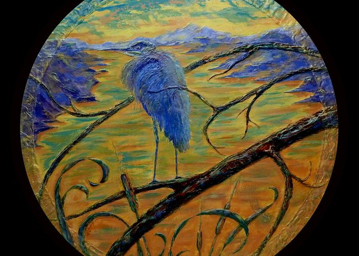 Blue Heron Greeting Card featuring the painting Earth Light Series by Len Sodenkamp