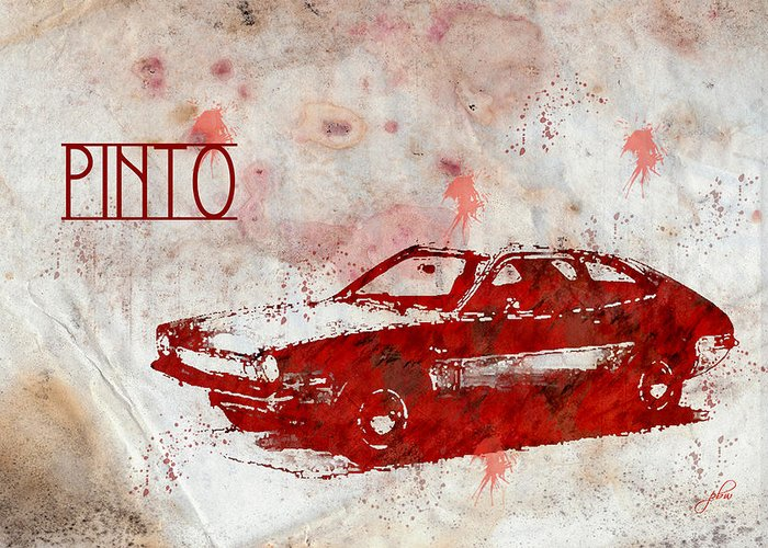 Feature Art Greeting Card featuring the digital art 71 Pinto by Paulette B Wright