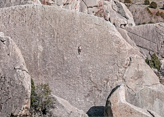 Greg Moore Greeting Card featuring the photograph Rock Climber by Elijah Weber