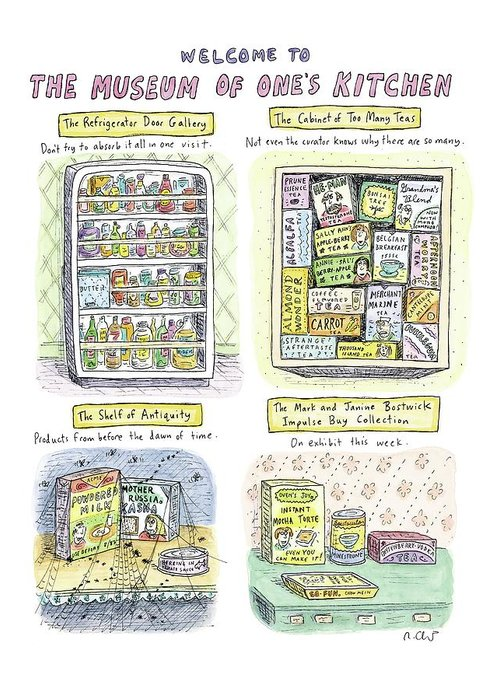 Kitchen Greeting Card featuring the drawing New Yorker August 13th, 2007 by Roz Chast
