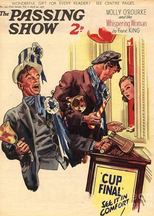 Football Greeting Card featuring the drawing 1930s,uk,the Passing Show,magazine Cover by The Advertising Archives