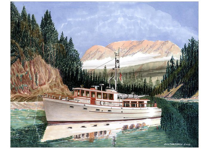 Yacht Portraits Greeting Card featuring the painting 75 Foot Classic Bridgrdeck Yacht by Jack Pumphrey