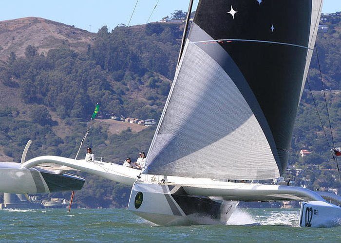 Trimaran Greeting Card featuring the photograph San Francisco Sailing by Steven Lapkin