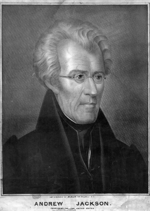 1837 Greeting Card featuring the painting Andrew Jackson (1767-1845) by Granger