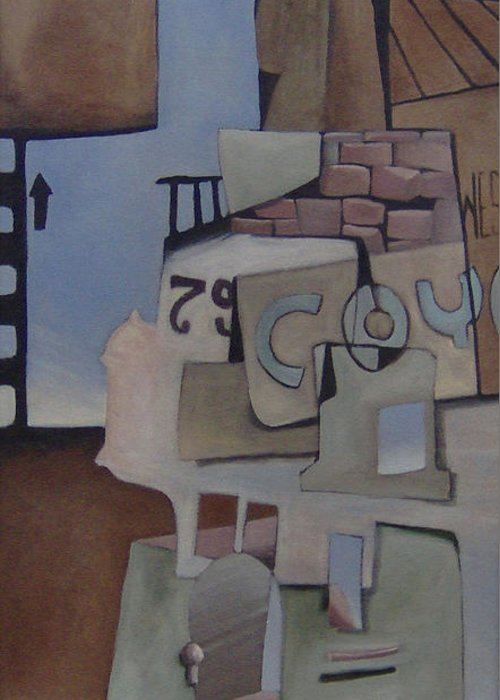 Surreal Greeting Card featuring the painting 79w92nd St by Michael Irrizary-Pagan
