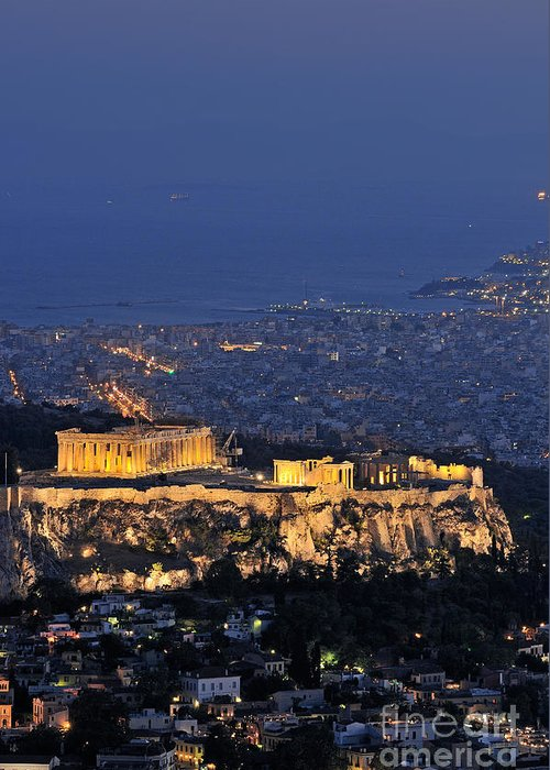 Acropolis; Acropoli; Akropoli; Akropolis; Parthenon; Monument; Athens; City; Capital; Attica; Attika; Attiki; Greece; Hellas; Greek; Hellenic; Europe; European; Temple; Ancient; Old; Sea; Holidays; Vacation; Travel; Trip; Voyage; Journey; Tourism; Touristic; Summer; Summertime; Hill; Dusk; Twilight; Night; Lights; Photos; Photograph; Photography Greeting Card featuring the photograph Acropolis Of Athens During Dusk Time by George Atsametakis