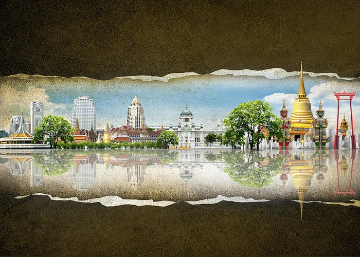 Ancient Greeting Card featuring the digital art Background Travel Concept by Potowizard Thailand