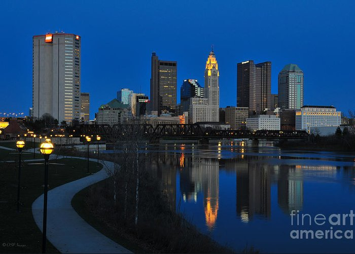 Columbus Greeting Card featuring the photograph Columbus Ohio Skyline At Night by Ohio Stock Photography