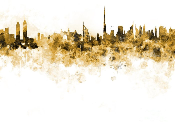 Dubai Skyline Greeting Card featuring the painting Dubai Skyline In Watercolour On White Background by Pablo Romero