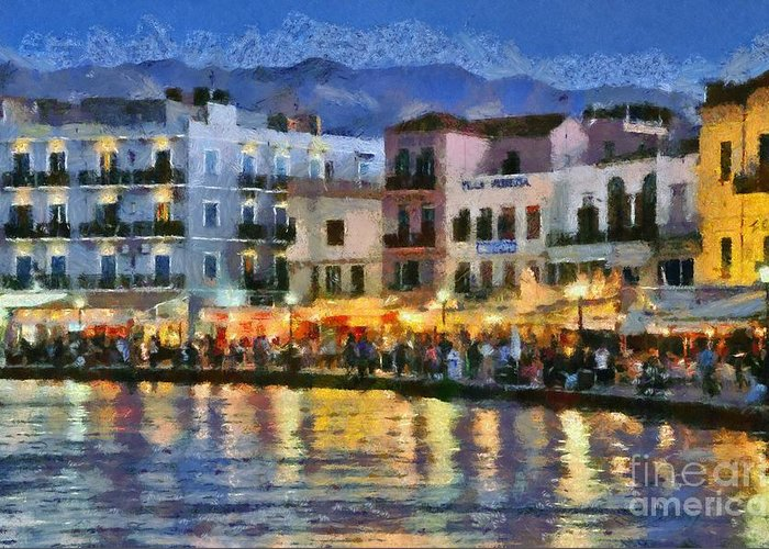 Chania; Hania; Crete; Kriti; Town; Old; City; Port; Harbor; Venetian; Greece; Hellas; Greek; Hellenic; Islands; Dusk; Twilight; Night; Lights; Sea; Island; People; Tourists; Walk; Walking; Color; Colour; Colorful; Colourful; Hotels; Taverns; Restaurants; Holidays; Vacation; Travel; Trip; Voyage; Journey; Tourism; Touristic; Summer; Paint; Painting; Paintings Greeting Card featuring the painting Painting Of The Old Port Of Chania by George Atsametakis