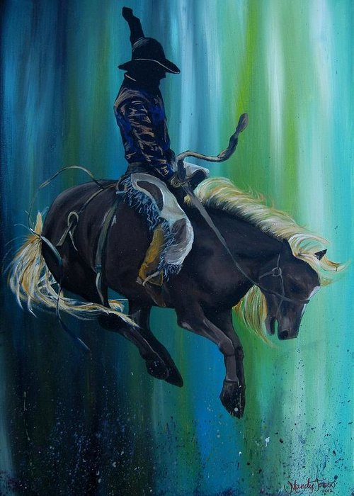 Cowboy Greeting Card featuring the painting 8 Seconds? by Mandy Jones