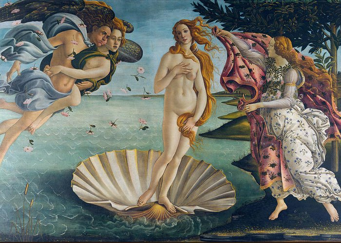 Sandro Botticelli Greeting Card featuring the painting The Birth Of Venus by Sandro Botticelli