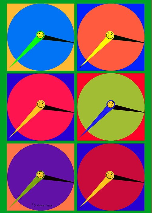 879 Greeting Card featuring the painting 879 - Three Thirty - Eight Pop Clocks by Irmgard Schoendorf Welch