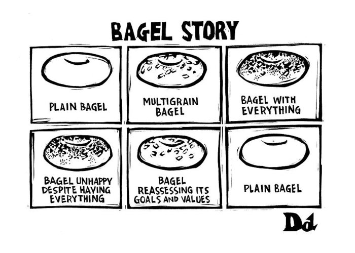Bagel Story Greeting Card featuring the drawing New Yorker January 28th, 2008 by Drew Dernavich