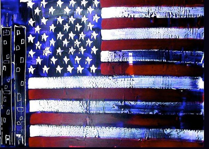 Richard Sean Manning Greeting Card featuring the painting 9-11 Flag by Richard Sean Manning