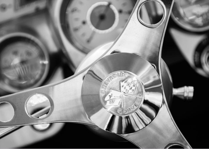 1960 Chevrolet Corvette Steering Wheel Emblem Greeting Card featuring the photograph 1960 Chevrolet Corvette Steering Wheel Emblem by Jill Reger