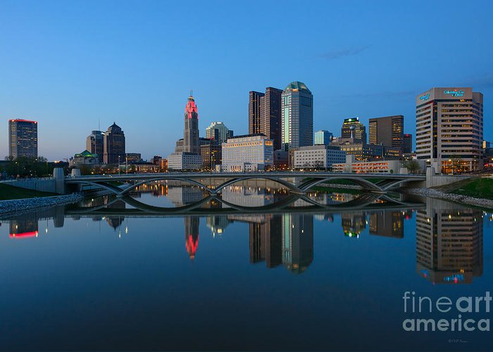 Columbus Greeting Card featuring the photograph Fx2l-508 Columbus Ohio Skyline Photo by Ohio Stock Photography