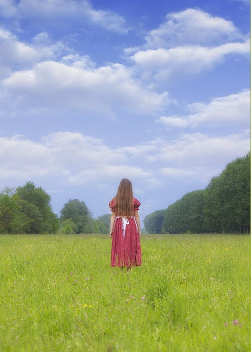 Woman Greeting Card featuring the photograph Girl On Meadow by Joana Kruse